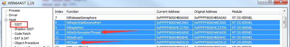 WIN64AST的SSDT截图